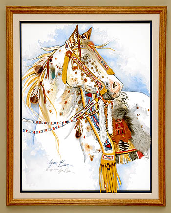 COPPER APPALOOSA, NATIVE AMERICAN DRESS 18x24.