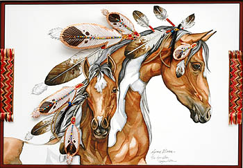 COPPER HORIZONTAL MARE AND COLT, FEATHER DRESSED 11x14.