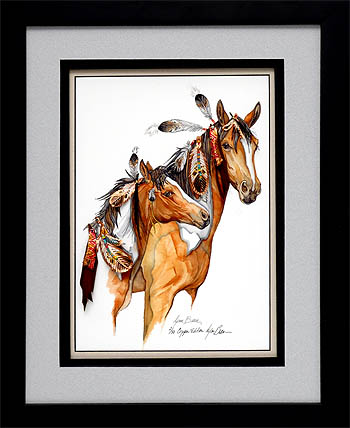 COPPER VERTICAL MARE AND COLT, FEATHER DRESSED 18x24.