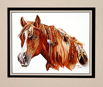 COPPER WHITE BLAZE QUARTERHORSE 18x24.